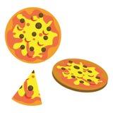 Gehele pizza en één plak Stock Afbeelding