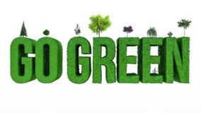 Gehen Ökologiekonzept 3d übertragen Illustration 3d grünes Lizenzfreies Stockfoto