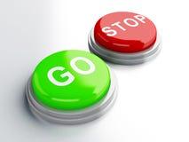 Gehen adnd STOPP-Tasten Abbildung 3D Lizenzfreie Stockfotos