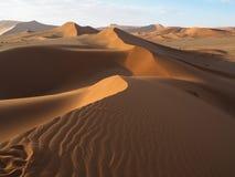 Gehen auf natürliche gebogene Kantenlinie durch Windschlagmuster der rostigen roten Sanddüne mit Schatten und Schatten auf Wüsten Stockfotos