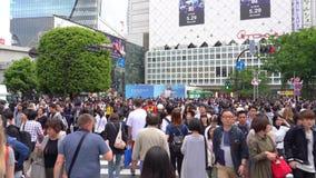 Gehen auf Shibuya-Überfahrt im Zeitversehen der Tageszeit 4K UHD stock video footage