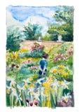 Gehen in den Garten Stockbild