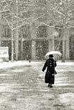 Gehen in den Schnee Stockbild