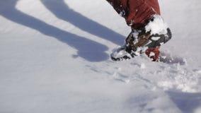 Gehen in den Schnee stock video