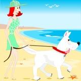 Gehen der Hund auf dem Strand Stockfotografie