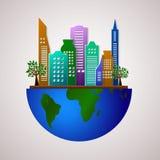 Gehen Designschablone grüne Eco-Planetenillustration stock abbildung