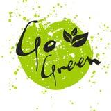Gehen Eco-Ikone mit Blatt, Vektorbiozeichen auf Aquarellfleck grüne Stockfotografie