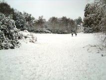 Gehen in ein Tal bedeckt im Schnee Stockbild