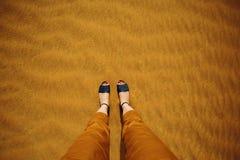 Gehen in eine Wüste Stockbilder