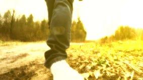 Gehen an einem sonnigen Tag Beine gehen entlang die Straße Stockbilder