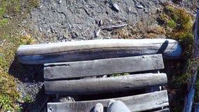 Gehen hinunter den Weg nahe Perito Moreno in der Zeitlupe stock footage