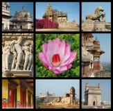 Gehen Indien-Collage - Reisenfotos des Indien-Grenzsteins Stockfotografie