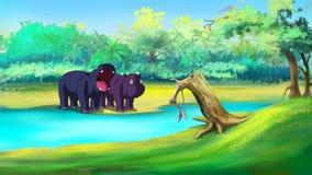 Gehen kleines Flusspferd zwei, im Fluss zu schwimmen vektor abbildung
