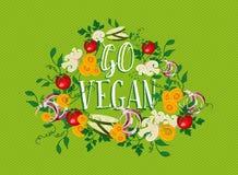 Gehen Lebensmittelillustration des strengen Vegetariers mit Gemüseelementen Lizenzfreie Stockfotos