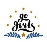 Gehen Mädchen handrawn Beschriftung mit Blumen Mädchen-Energie feminismus Getrennt auf weißem Hintergrund Zitatdesign Zeichnen fü Stockbild