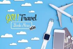 Gehen Reise Buch reisen jetzt Gegenstandreisekonzept stock abbildung