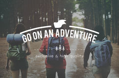 Gehen Sie auf Abenteuer-reisendes Erforschungs-Reise-Konzept Stockbild