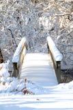 Gehen Sie auf Ansicht einer Brücke über einem Strom voran, der innen starken Schneefällen folgt Lizenzfreie Stockfotografie