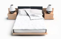Gehen Sie auf einem weißen Hintergrund zu Bett Stockbild