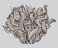 Gehen Sie, Busch des Haares, Gekritzelvektorillustration voran vektor abbildung
