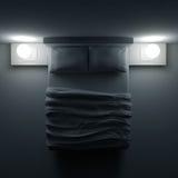 Gehen Sie mit Kissen und einer Decke im Eckzimmer, Illustration 3d zu Bett Lizenzfreies Stockbild