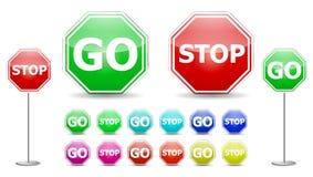 Gehen Sie Zeichen stoppen lizenzfreie abbildung