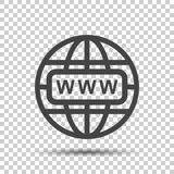 Gehen Sie zur Netzikone Flache Vektorillustration des Internets für Website an Stockfotos