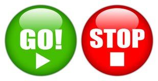 Gehen STOPP-Taste Stockbild
