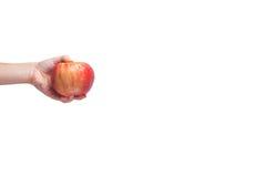 Gehen strenger Vegetarier! Konzept von Veganism Diät des strengen Vegetariers Menschliche Hand mit appl Lizenzfreies Stockfoto