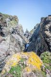 Gehen um den Küstenweg zum Stepperpunkt Cornwall Großbritannien Lizenzfreies Stockfoto