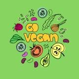 Gehen Veganabbildung Veganismkonzept Handgezogene Bilder von Nahrungsmitteln des strengen Vegetariers stock abbildung