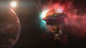 Gehen zur Raumstation nahe dem Planeten und dem Nebelfleck Abbildung 3D Stockfotografie