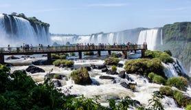 Gehende Brücke, welche die Brasilien-Seite von Iguassu Fällen übersieht Stockfotos