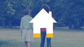Gehende Freien- und Hausikone der jungen Paare, die mit Gelb füllt stock video footage