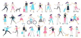 Gehende Leute Mann- und Frauenweg mit Hund an der Stadt, Mädchen, das den Smartphone und Jungen mit Skateboardvektor lokalisiert  vektor abbildung