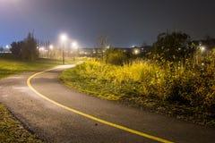 Gehende Spur nachts im Nebel Stockfoto