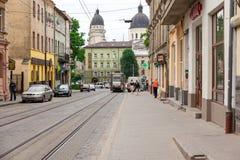 Gehende Straße in der alten Stadt Stockfotografie