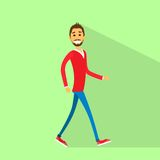 Gehender flacher Seitenvektor des zufälligen glücklichen Mannes Lizenzfreies Stockbild