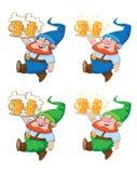 Gehender Gnome mit Bier Stockfoto