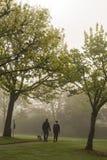 Gehender Hund der Paare durch nebeligen Park Lizenzfreies Stockbild