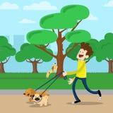 Gehender Hund des jungen Mannes im Park Stockbilder