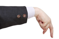 Gehender Mann von den männlichen Fingern - Handzeichen Stockfotos