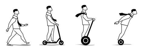 Gehender, Reitenroller des Mannes und elektrischer Roller Anzuvisieren Bewegung lizenzfreie stockfotos