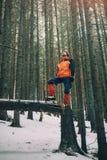 Gehender schöner Winterwald des Touristen Lizenzfreies Stockfoto