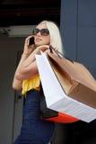 Gehendes Einkaufen der jungen Frau Lizenzfreie Stockfotos