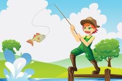 Gehendes Fischen des Jungen Stockfoto
