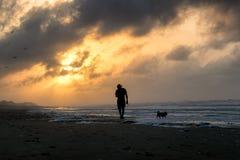 Gehendes Schattenbild sein Hund auf Strand Stockfotografie