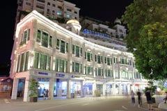 Gehendes Straßenhandelsnachtsichtgerät Zhongshanlu, luftgetrockneter Ziegelstein rgb Stockbilder