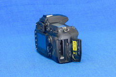 Geheugencontactdoos van oud DSLR-cameralichaam Royalty-vrije Stock Foto