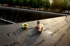 911 geheugenpark na regen Royalty-vrije Stock Foto's